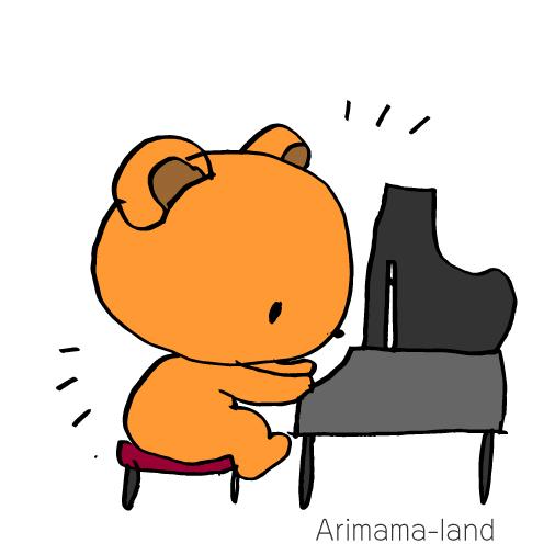 ピアノを弾くくまさん描いてみました!!