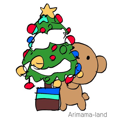 早くもクリスマスツリーとクマさん描いてみました!!