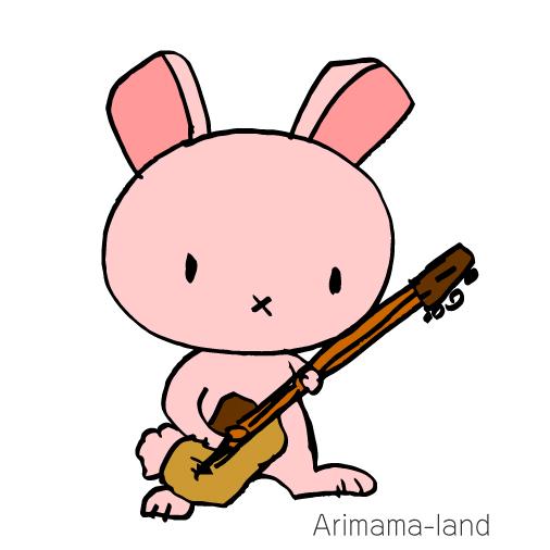 ベースを弾くうさぎさん描いてみました!!