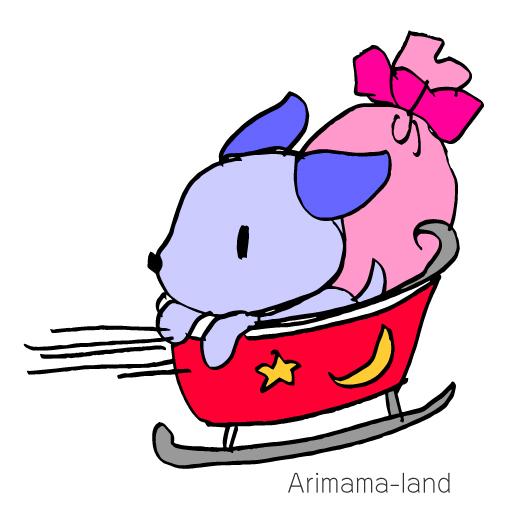 ソリに乗ったワンちゃんサンタ描いてみました!!