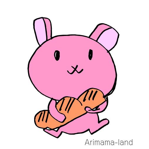 パンを抱えるうさぎ描いてみました!!