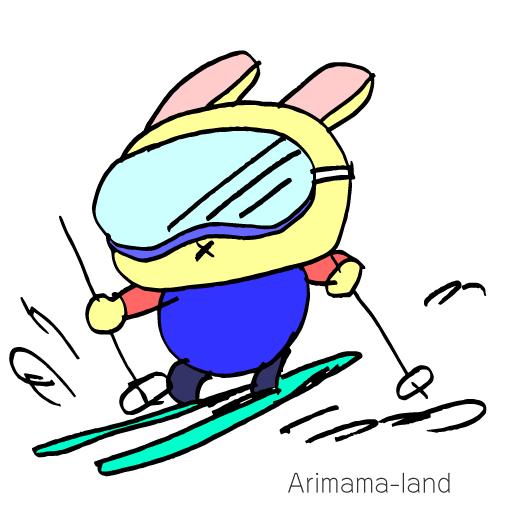 スキーすべるうさぎ描いてみました!!