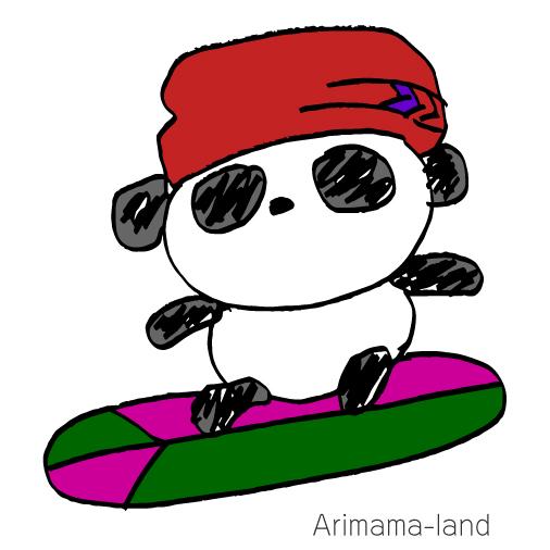 スノーボードパンダ描いてみました!!