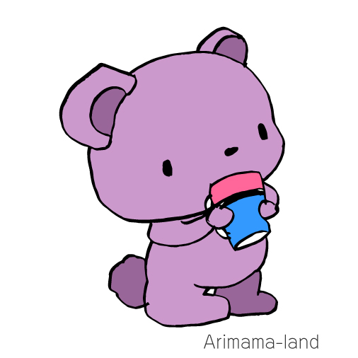 1分動画!お茶を飲むクマさん描いてみました!
