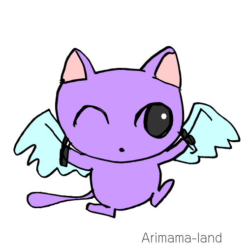 エンジェルの羽をもった猫ちゃん描いてみました!!