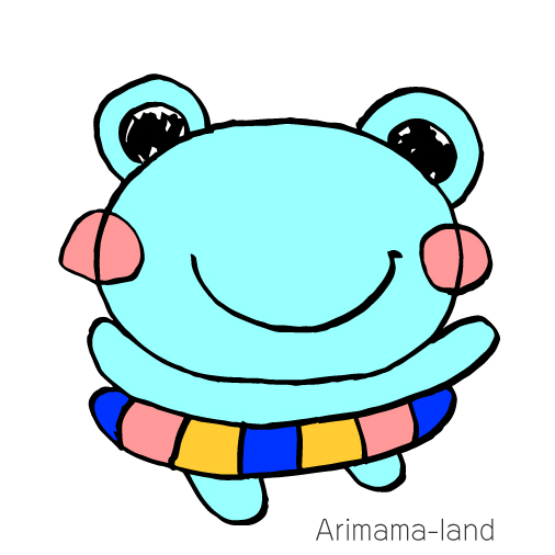浮き輪を付けたカエルちゃん描いてみました