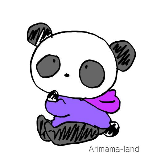 ヨットパーカーを着たパンダさん描いてみました