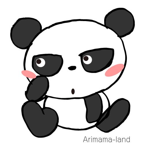 鋭い目つきのパンダ描いてみました!!
