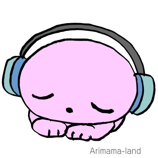 ヘッドホンで音楽を聴くクマさん