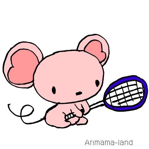 テニスするネズミちゃん描いてみました