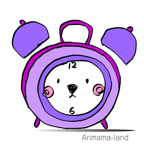 クマさんの顔した時計描いてみました